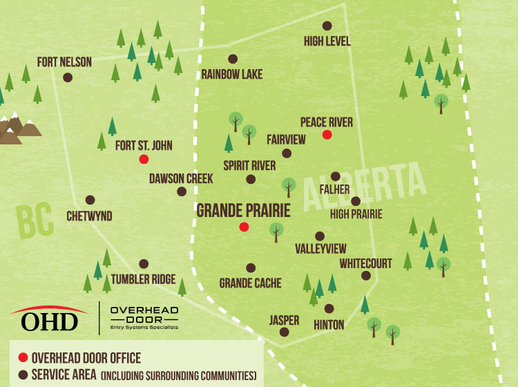 Service Area Map shows headquarters in Grande Prairie, Fort St. John, and Peace River